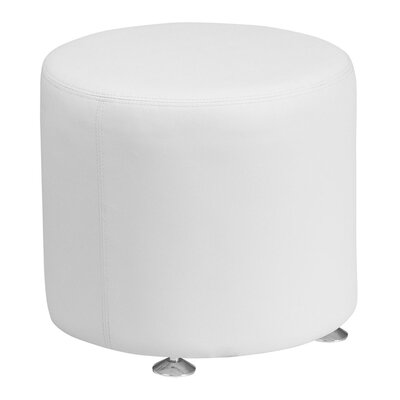 Acord Round Leather Ottoman Upholstery: White