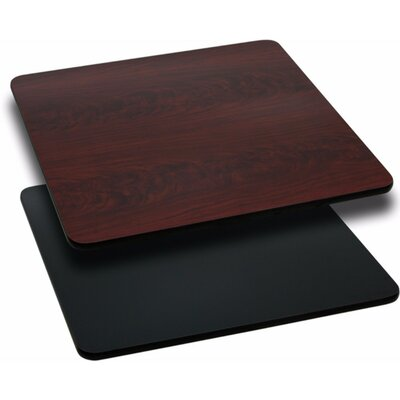 Square Reversible Laminate Table Top Size: 1.125 H x 24 W x 24 D, Finish: Black/Mahogany