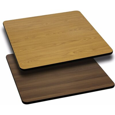 Square Reversible Laminate Table Top Size: 1.125 H x 24 W x 24 D, Finish: Natural/Walnut