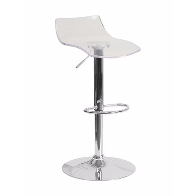Aruna Contemporary Transparent Adjustable Height Bar Stool Seat Color: Clear Acrylic Seat
