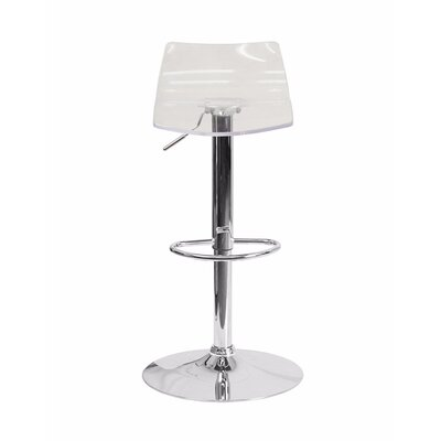 Aguon Transparent Acrylic Adjustable Height Swivel Bar Stool Color: Clear Acrylic Seat
