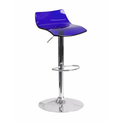 Aruna Contemporary Transparent Adjustable Height Bar Stool Seat Color: Blue Acrylic Seat