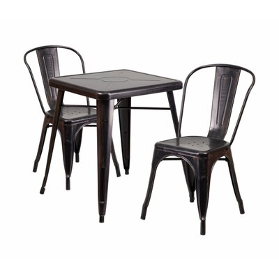 3 Piece Dining Set Finish: Black Antique Gold
