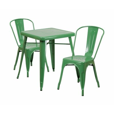3 Piece Dining Set Finish: Green