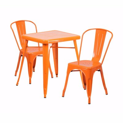 3 Piece Dining Set Finish: Orange