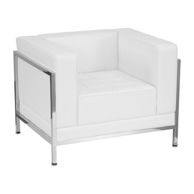 Hercules Imagination Series Leather Reception Chair Upholstery: White