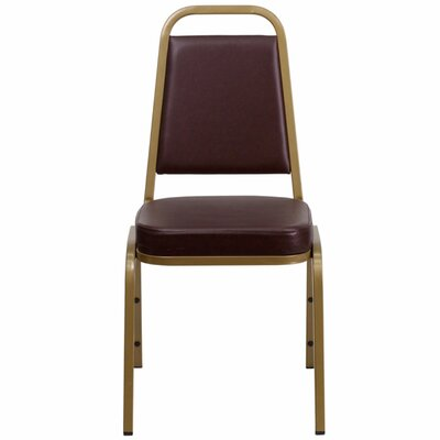 Hercules Series Trapezoidal Banquet Chair Seat Finish: Brown, Frame Finish: Gold