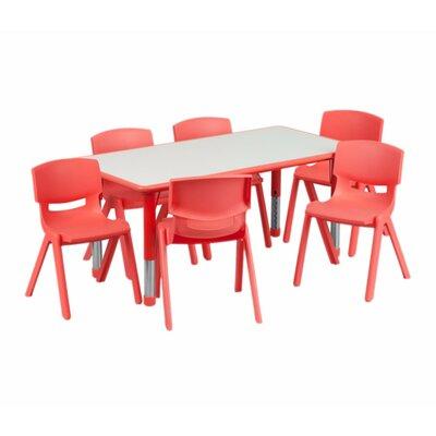 Coughlin Adjustable Plastic Kids 7 Piece Rectangular Table and Chair Set 22A51F50A0B84F16A34A2A23C3E6C3EC