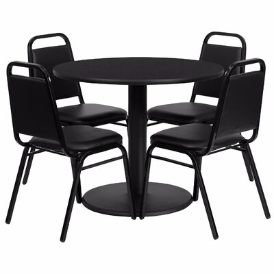 Girault Round Laminate 5 Piece Dining Set Table Top Color: Black