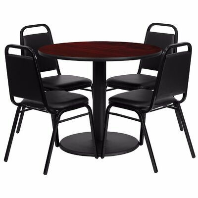 Girault Round Laminate 5 Piece Dining Set Table Top Color: Dark Red