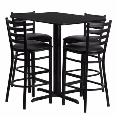 Heming Rectangular Laminate 5 Piece Dining Set Table Top Color: Black