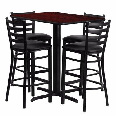 Heming Rectangular Laminate 5 Piece Dining Set Table Top Color: Mahogany