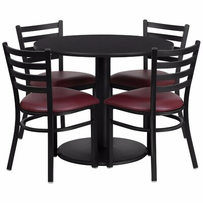 Laux Round Laminate 5 Piece Dining Set Table Top Color: Black, Chair Color: Red
