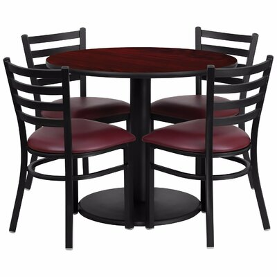 Laux Round Laminate 5 Piece Dining Set Table Top Color: Red, Chair Color: Red