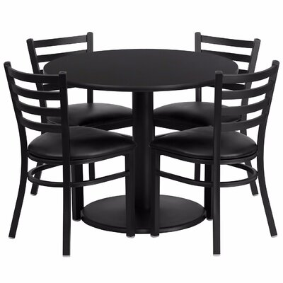 Laux Round Laminate 5 Piece Dining Set Table Top Color: Black, Chair Color: Black