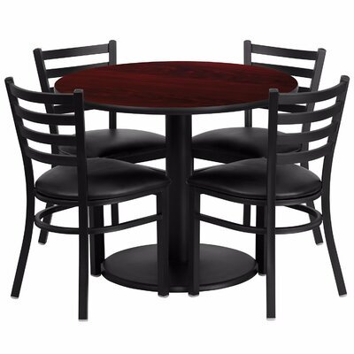 Laux Round Laminate 5 Piece Dining Set Table Top Color: Red, Chair Color: Black