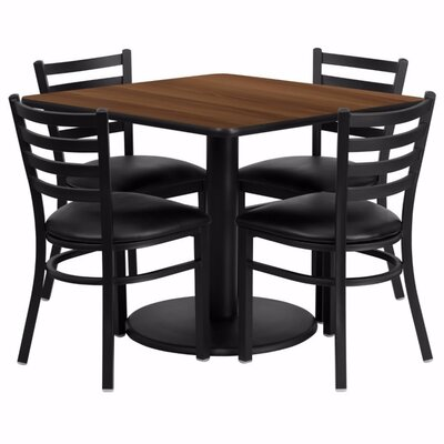 Umberger 5 Piece Pub Table Set Tabletop Color: Walnut