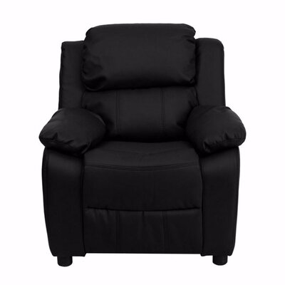 Heins Deluxe Leather Recliner Upholstery: Black
