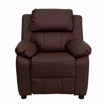 Heins Deluxe Leather Recliner Upholstery: Brown