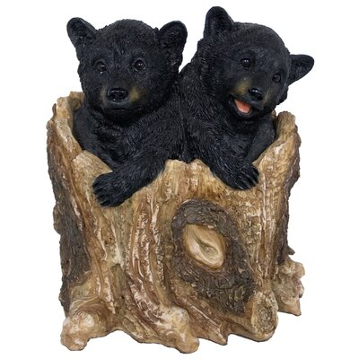 Grand Lake 2 Bear Cubs Inside Tree Trunk Figurine LOPK2933 41069268