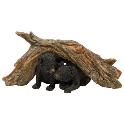 Bear Cub Under Tree Log Figurine 93517