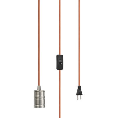 Otelia 1-Light Mini Pendant Base Finish: Satin Nickel/Orange