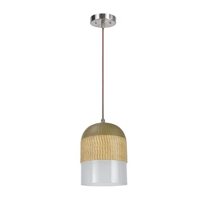 Van Wyck Adjustable 1-Light Hanging Mini Pendant Shade Color: Green/White
