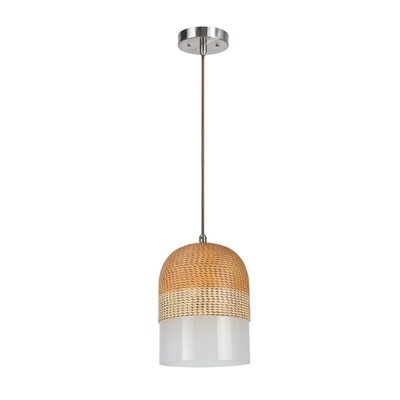 Van Wyck Adjustable 1-Light Hanging Mini Pendant Shade Color: Brown/White