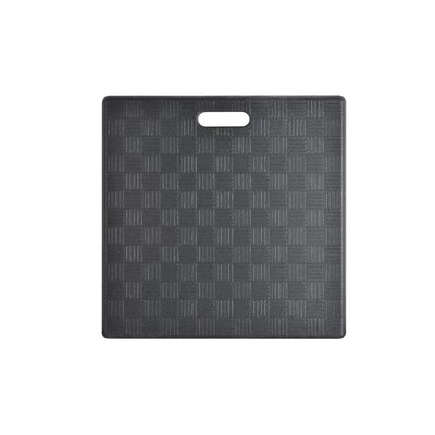 Square Basket Weave Kitchen Mat Color: Black, Set of: 1
