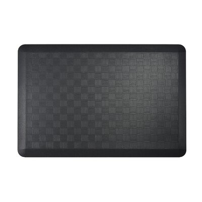 Basket Weave Kitchen Mat Color: Black, Set of: 2