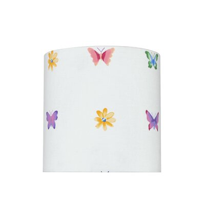 Transitional 8 Fabric Drum Butterflies/Flowers Lamp Shade