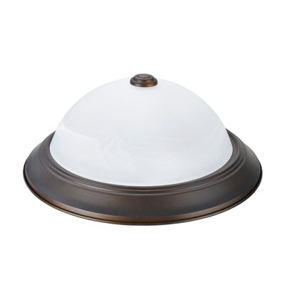 Herkimer 2-Light Flush Mount Fixture Finish: Bronze, Size: 5.25 H x 13 W x 13 D