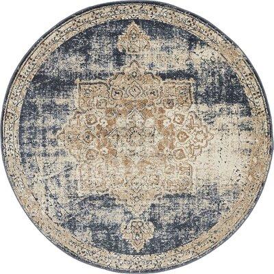 Abbeville Dark Blue/Beige Area Rug Rug Size: 4 x 4