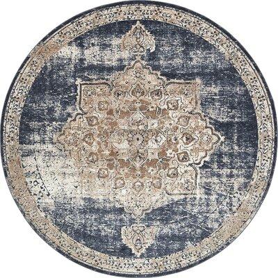 Abbeville Dark Blue/Beige Area Rug Rug Size: 8 x 8