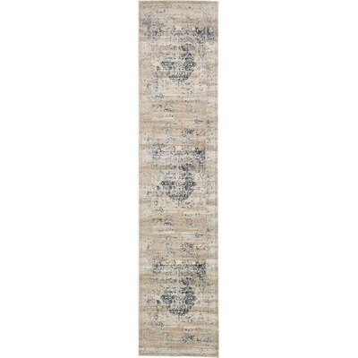 Abbeville Dark Blue/Cream Area Rug Rug Size: Runner 3 x 13