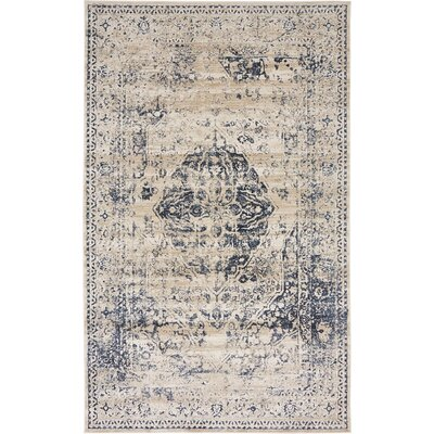 Abbeville Dark Blue/Cream Area Rug Rug Size: 5 x 8