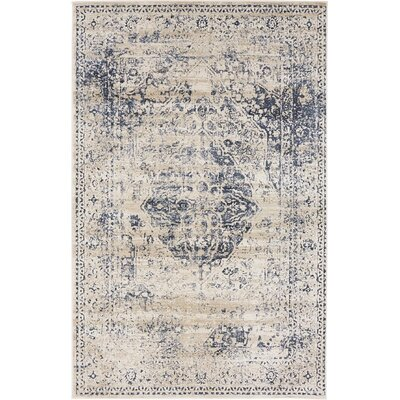 Abbeville Dark Blue/Cream Area Rug Rug Size: 4 x 6