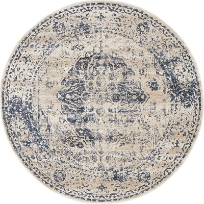 Abbeville Dark Blue/Cream Area Rug Rug Size: Round 4
