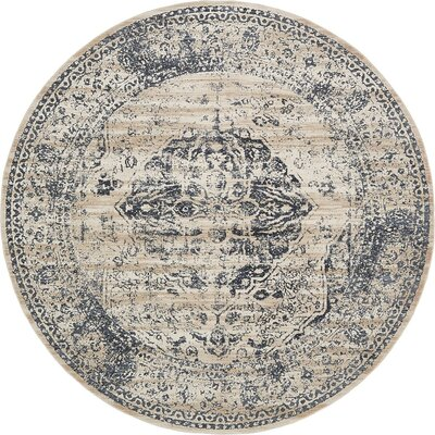 Abbeville Dark Blue/Cream Area Rug Rug Size: Round 8