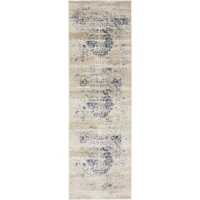 Abbeville Dark Blue/Cream Area Rug Rug Size: Runner 22 x 67