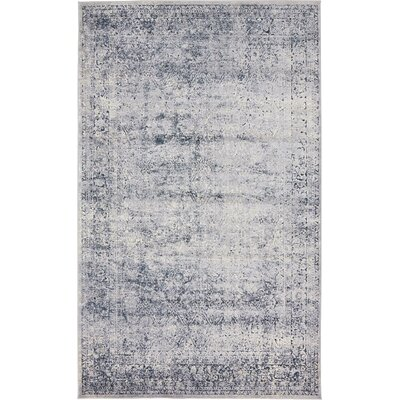 Abbeville Dark Blue/Gray Area Rug Rug Size: 5 x 8
