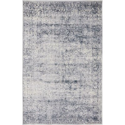 Abbeville Dark Blue/Gray Area Rug Rug Size: 4 x 6