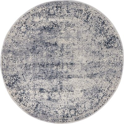Abbeville Dark Blue/Gray Area Rug Rug Size: 4 x 4
