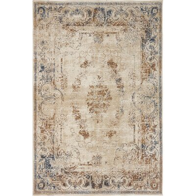 Abbeville Blue/Cream Area Rug Rug Size: 4 x 6