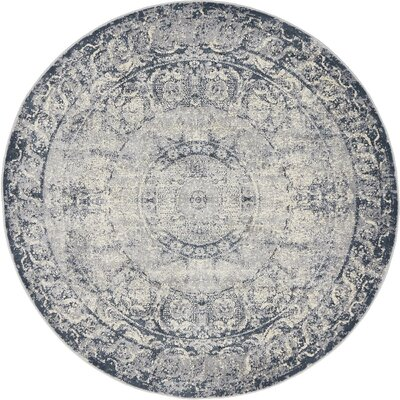 Abbeville Stone Blue Area Rug Rug Size: 4 x 4