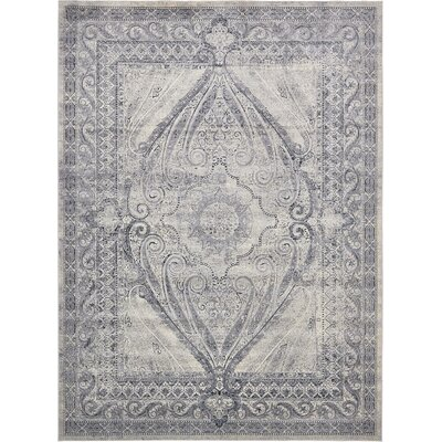 Abbeville Gray/Dark Blue Area Rug Rug Size: 9 x 12