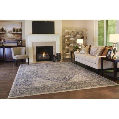 Abbeville Oriental Gray/Dark Blue Area Rug Rug Size: Rectangle 5 x 8