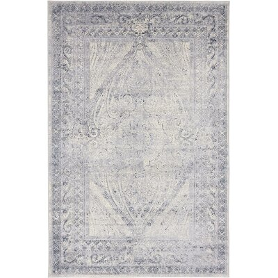 Abbeville Gray/Dark Blue Area Rug Rug Size: 4 x 6