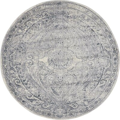 Abbeville Gray/Dark Blue Area Rug Rug Size: 4 x 4