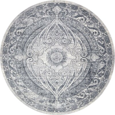 Abbeville Gray/Dark Blue Area Rug Rug Size: 8 x 8